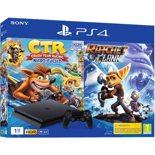 Sony PS4 1 TB + CTR Nitro Fueled & Ratchet & Clank